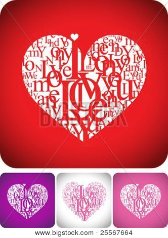Love greeting card for valentine day or wedding card design -  typeface composition on red, white, pink and violet backgrounds