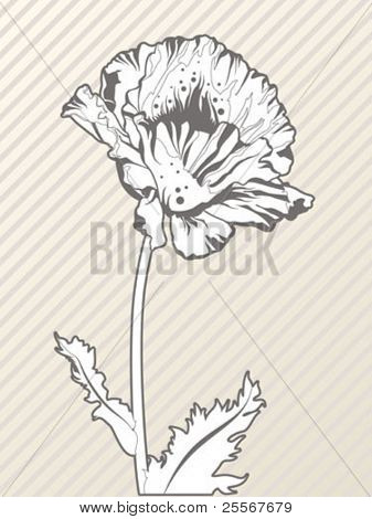 Elegant stylized flower doodle on seamless lined background - high quality illustration