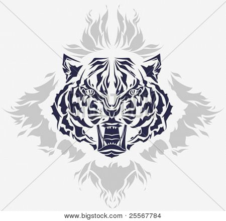 Roaring tiger head and flames isolated black silhouette - high quality detailed illustration - great for t-shirt apparel design