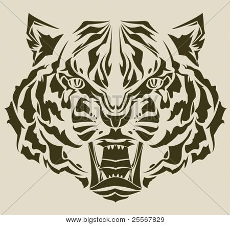 Cabeza de tigre enojado silueta complejo creado con elementos pelados modificados