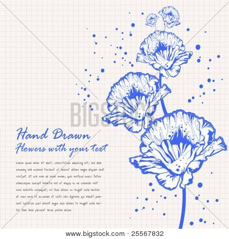 Hand-drawn flowers doodle on a squared notepad paper with a place for your text