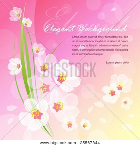 Spring blossoms background with flowers, flying petals, and fresh green stalks