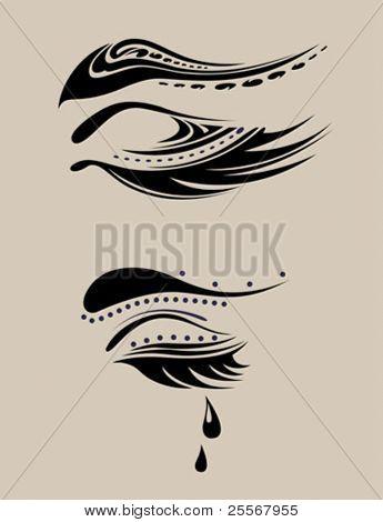 beauty salon emblem - abstract closed eye with long eyelashes, eyebrow, tear drop - for salon beauty products