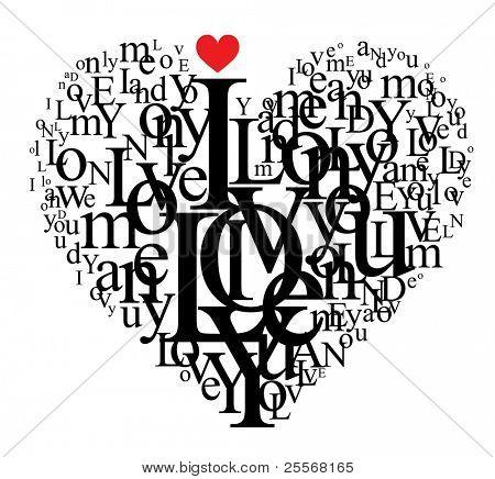 En forma de corazón de letras - composición tipográfica - versión VECTOR visitar mi portfolio