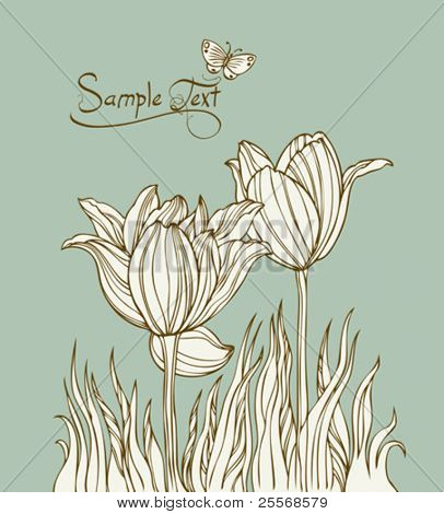 Vintage card with flowers and butterfly - Vector