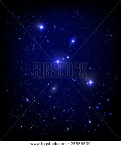 vector starry night sky and Orion nebula