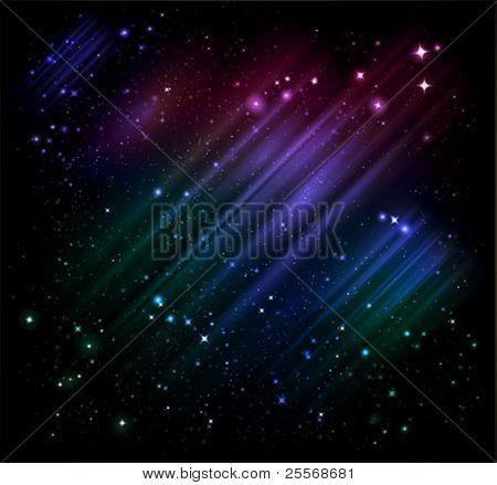 vector northern lights and night starry sky