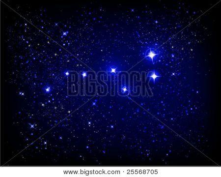 vetor de céu estrelado e a constelação de Ursa maior (maior urso)