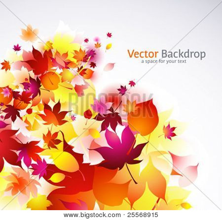 autumnal falling leaves vector background