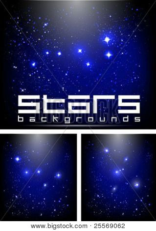 vector starry night sky backgrounds with constellations