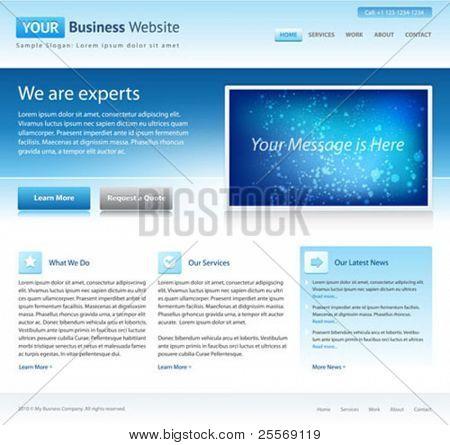plantilla de sitio web de la empresa azul - diseño de la página de inicio - limpia y simple - con un espacio para un texto