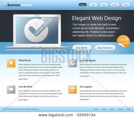 business company website template - home page design - with grids on a layout - blue, white, black colors - clean and simple