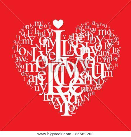 love background - typographic heart shape