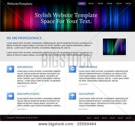 business website template with aurora spectrum lights