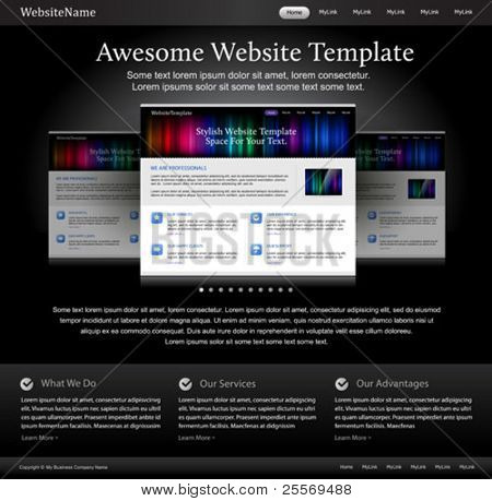 black stylish website template for designers