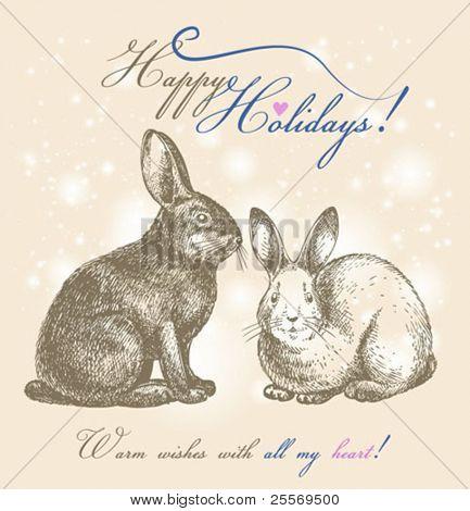 Easter bunnies vintage card