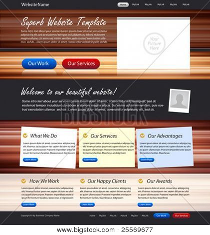 Web design website elements - design template with wooden texture background and stickers