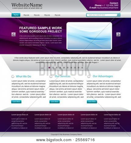 web site template design -  metallic, purple colors