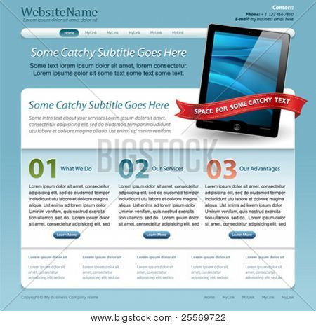 Web site template with touch pad tablet