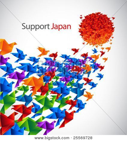 Japão arte social - origami aves voar ao sol estilizado da bandeira do Japão