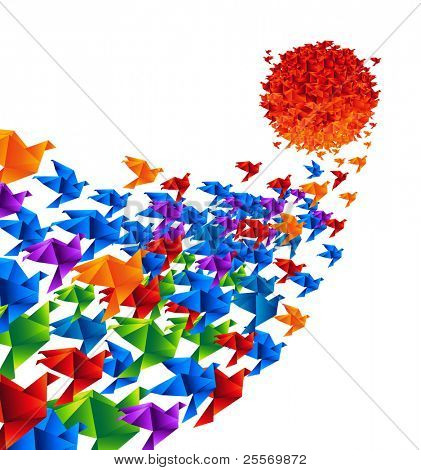 Origami birds fly to the sun - Raster version