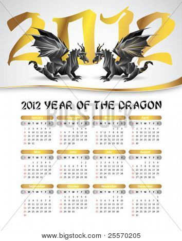 2012 calendar with black dragons, symbol of 2012 year - silver and gold colors