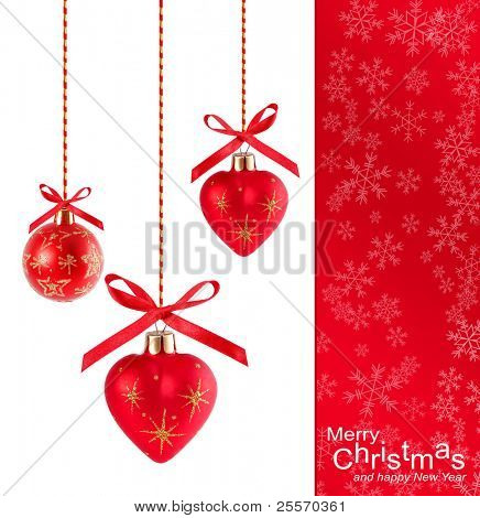 Christmas background with red heart-shaped balloons