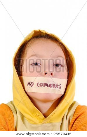 """Girl with sealed lips and the words """"no comment"""" on a white background"""