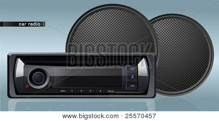 vector car radio with speakers
