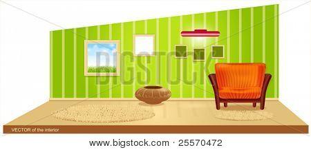 Vektor-Zimmer mit grünen Tapeten und einem gestreiften Sessel