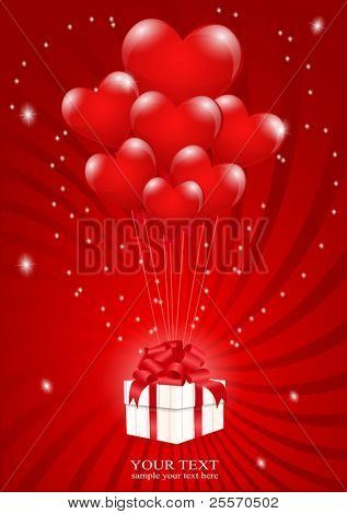 a lot of balloons-heart attached to a gift box with a red background