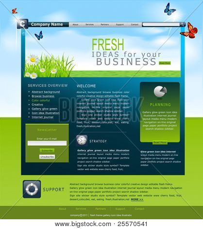 Vector Web site with daisies and blue skies for business