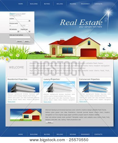 Vector website for the organization of business real estate agency