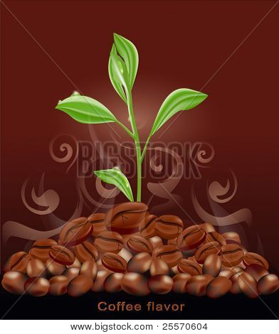 Vector sprout grows from a pile of coffee on a brown background