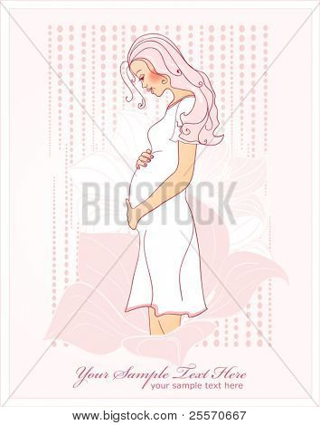 vector pregnant woman on a pink background with white flowers