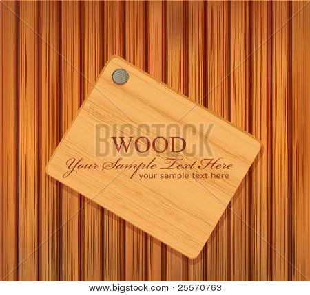 vector wooden plaque nailed to a wooden background