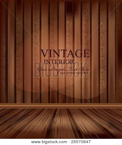 Vector vintage room with wooden floors and lighting