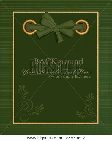 vector greeting green album for photos with a bow