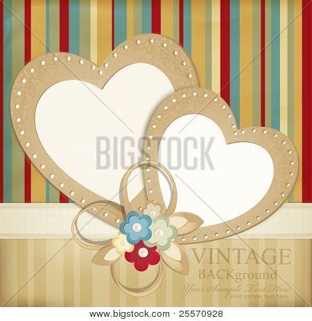 Fondo retro de vector de felicitación con cintas, flores y dos corazones sobre un fondo rayado