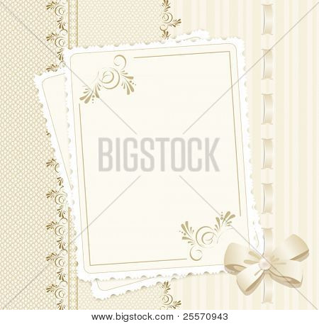 congratulation vector background with lace, ribbons, bows