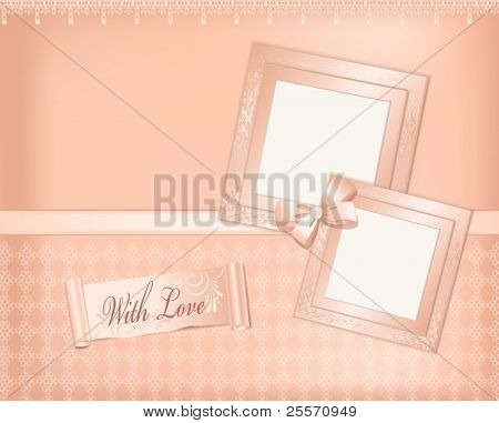 Vector pink  background with photo frames, ribbon and pearls