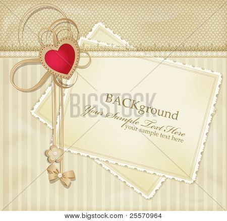 congratulation gold vector retro background with red heart