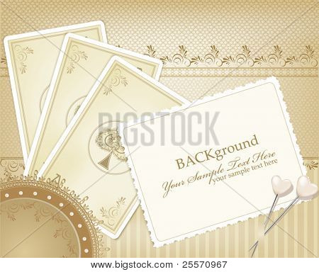 vector congratulation gold retro background with  playing cards