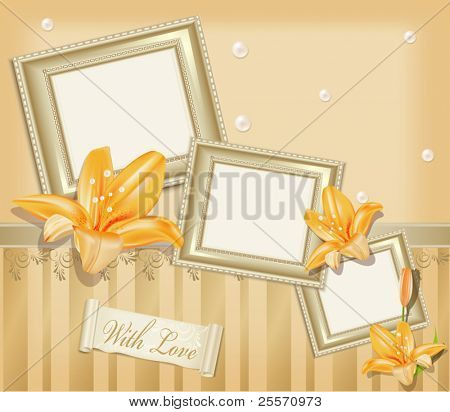 Vector  background with three photo frames, ribbon, pearls and  lilies