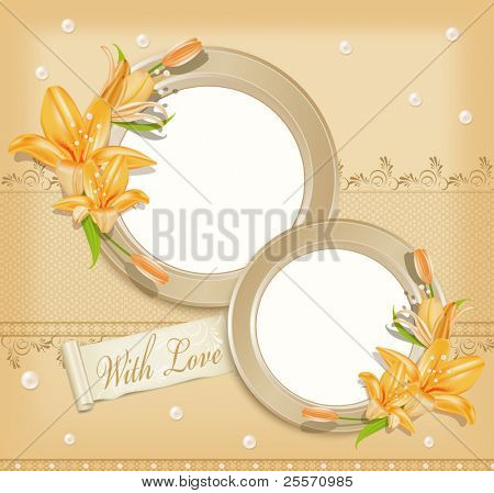 vector background  with  two  circular  photo frames, lilies and pearls
