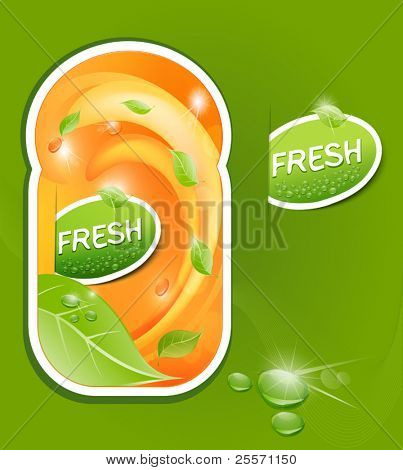 vector stickers with a juicy, fresh background with leaves and drops