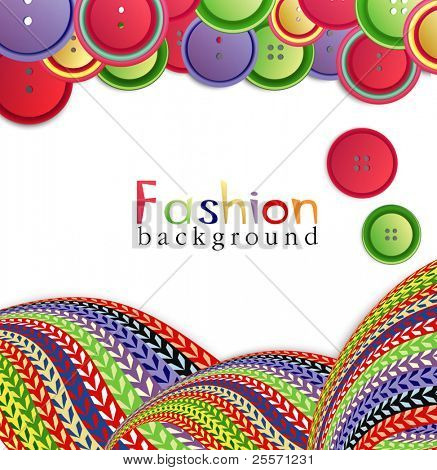 vector fashion background with knitting and buttons