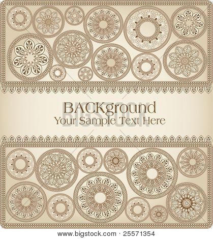 vector  hand-drawn greeting card in ethnic style
