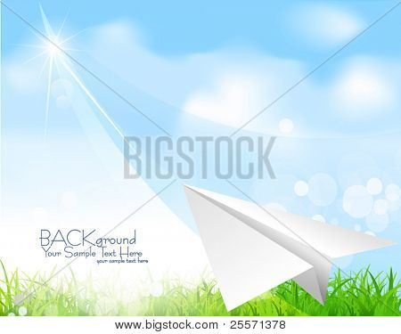 Vector paper plane soaring against the blue sky