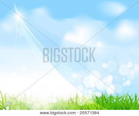 vector blue sky with grass, beam, blur